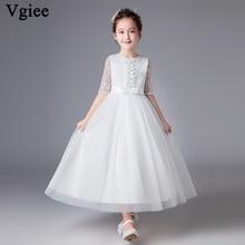 Vgiee Little Girls Dresses Half Ankle-Length White Dress Girl Princess for 4 To 10 Years Kids Dresses for Girls CC590 цена