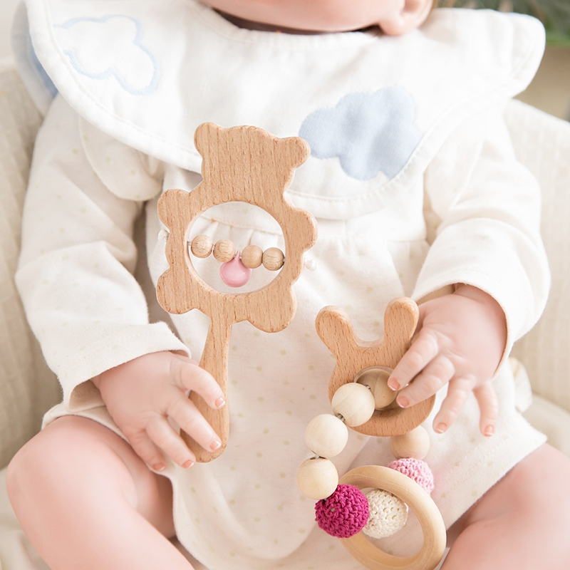 1 Set Baby Toys Wooden Rattle Infant Baby Teether Musical Baby Rattles Personalized Pacifier Chain Rattles For 0-12 Months Kids