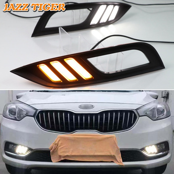 JAZZ TIGER 2PCS Flowing Turn Signal Function 12V Car DRL Lamp LED Daytime Running Light For Kia Cerato K3 2013 2014 2015 2016