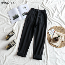 ג ינס נשים גבוהה אלסטי מותניים שחור רופף ישר נשים מכנסיים יוניסקס כל התאמה מקרית Harajuku נשים שיק יומי BF ג ינס
