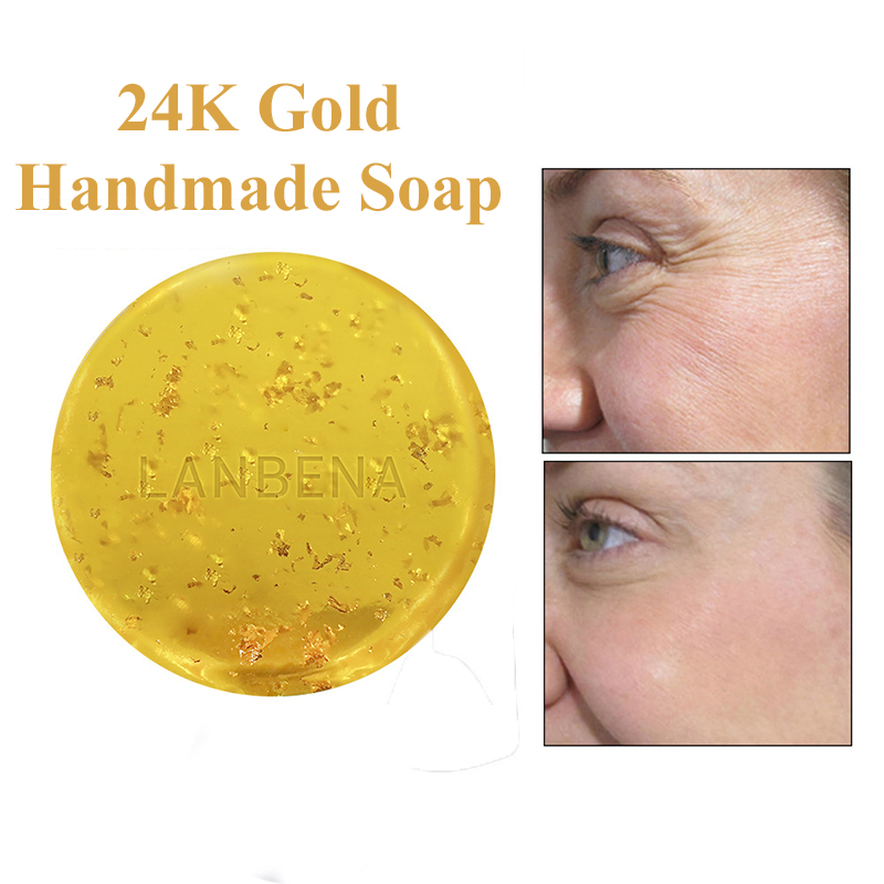 Handmade 24K Gold Soap Hyaluronic Acid Seaweed Tea Tree Essence Face Cleaning Soap Moisturizing Acne Treatment Skin Repair