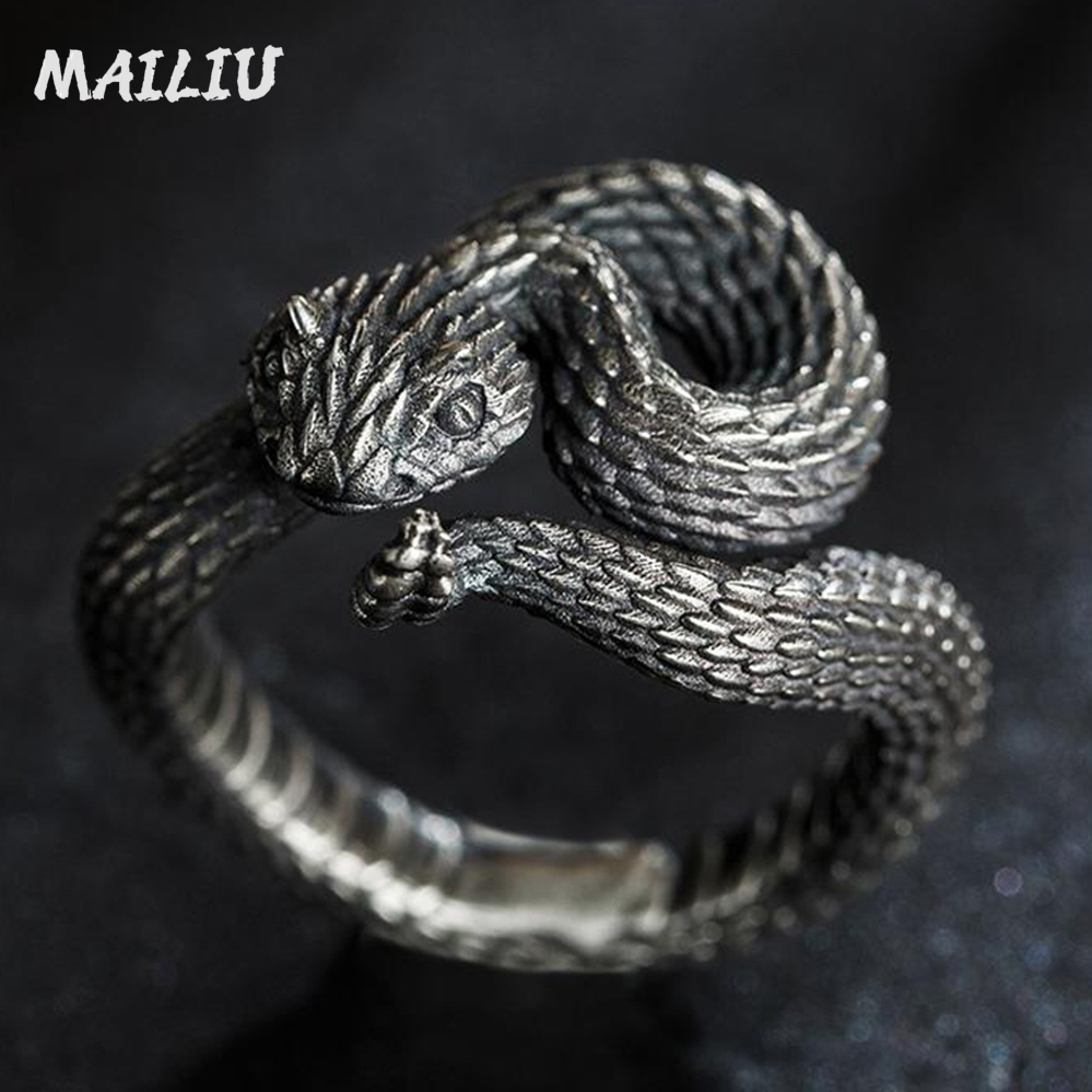 Гремучая кольцо в винтажном стиле; С серебряным покрытием кольцо змея в байкерском стиле Вечерние панк властная кольцо для мужчин и женщин ...