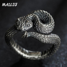 Rattlesnake Ring Vintage Silver Plated Snake Ring Motorcycle Party Punk Domineering Ring Women Men Ring Cool Hip Hop Jewelry