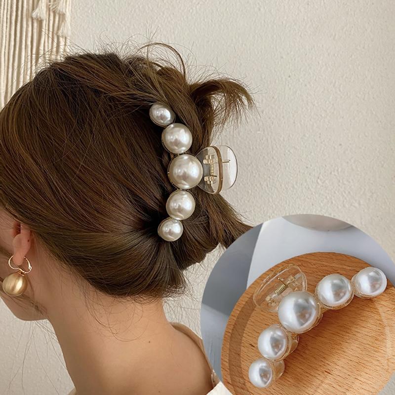 Haimeikang Acrylic Hair Claws Pearl Claw Clips For Woman Large Size Barrette Crab Ladies Fashion Hair Accessories