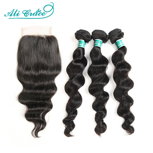 Ali Grace Hair Brazilian Loose Wave Bundles With Closure 100% Remy Hair 3 Bundles With 4x4 Lace Closure Middle and Free Part(China)