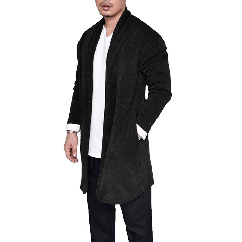 Men's Cotton Cardigan Autumn Spring Warm Comfortable Solid Spacious Pocket Long Clothes Knitted Casual Hombre Coats Pull Homme