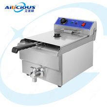 EF101V Electric Deep Fryer Oven Stainless Steel Tanks Oil Fryer Chicken Chips Potato Fish Fried Oven 10 Liters With Valve цена и фото