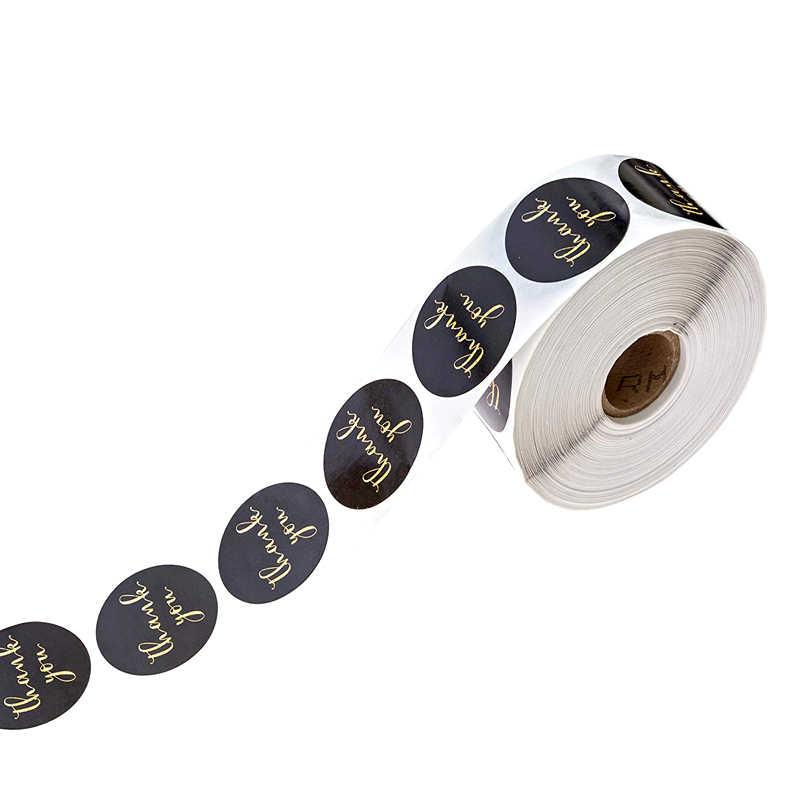 500 Pcs/roll Danke Aufkleber Dichtung etiketten mit Nette Runde Gold Folie Rosa oder Weiß Aufkleber Scrapbooking Schreibwaren aufkleber