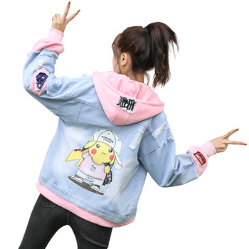 2020 Split Joint Denim Jacket Women Two Paper Cartoon Youthful Befree Harajuku Chaqueta Mujer Riverdale Streetwear Clothes носки befree befree mp002xw1ibb0