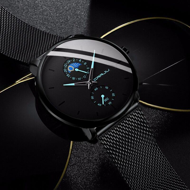 CRRJU Men Watches Top Brand Luxury Business Ultra Thin Mesh Strap Male WristWatch Fashion Sport Quartz Waterproof Watch Reloj