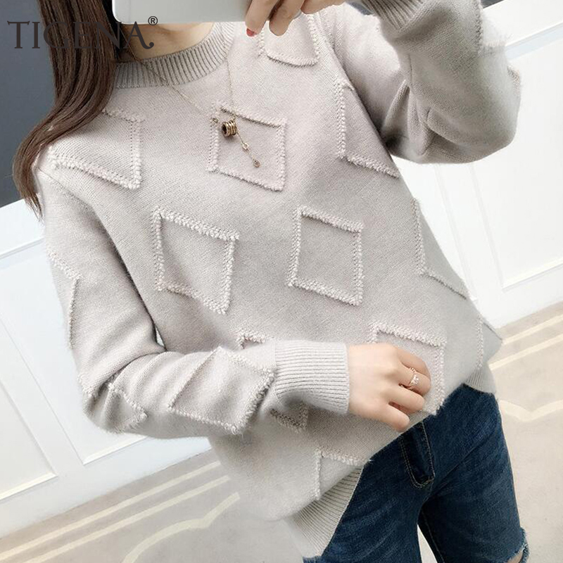 TIGENA Women Sweaters And Pullovers 2019 Autumn Winter Long Sleeve Knitted Warm Loose Sweater Female Jumper Ladies