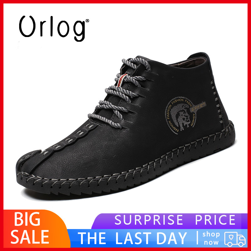 New Winter Casual Leather Men Boots High Top Shoes Split Leather Men Boots Flat Comfortable Moccasins Men Driving Shoes Footwear