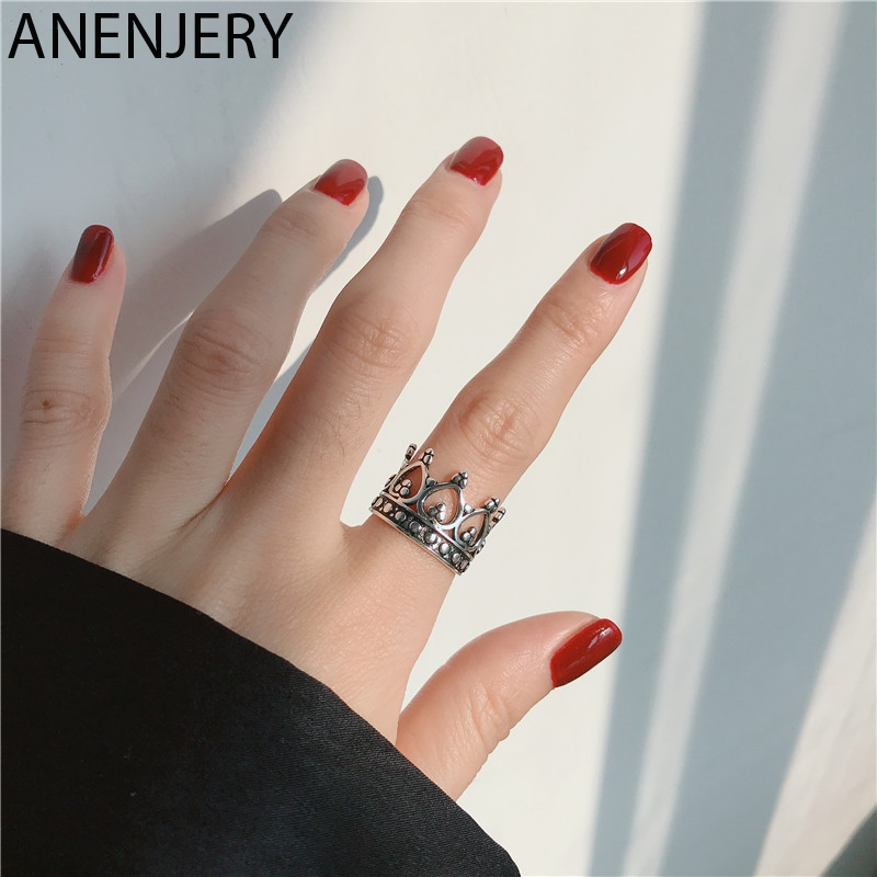 ANENJERY Simple Retro Crown 925 Stamp Thai Silver Color Ring Opening Rings For Women Jewelry Gifts S-R619