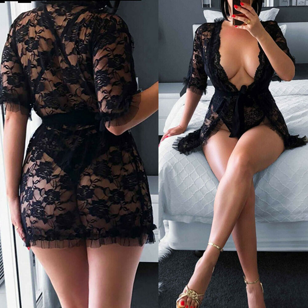 Women Sexy Lingerie Black Lace Dress Robe Sleepwear Ladies Female See Through Floral Babydolls Nightgown Underwear