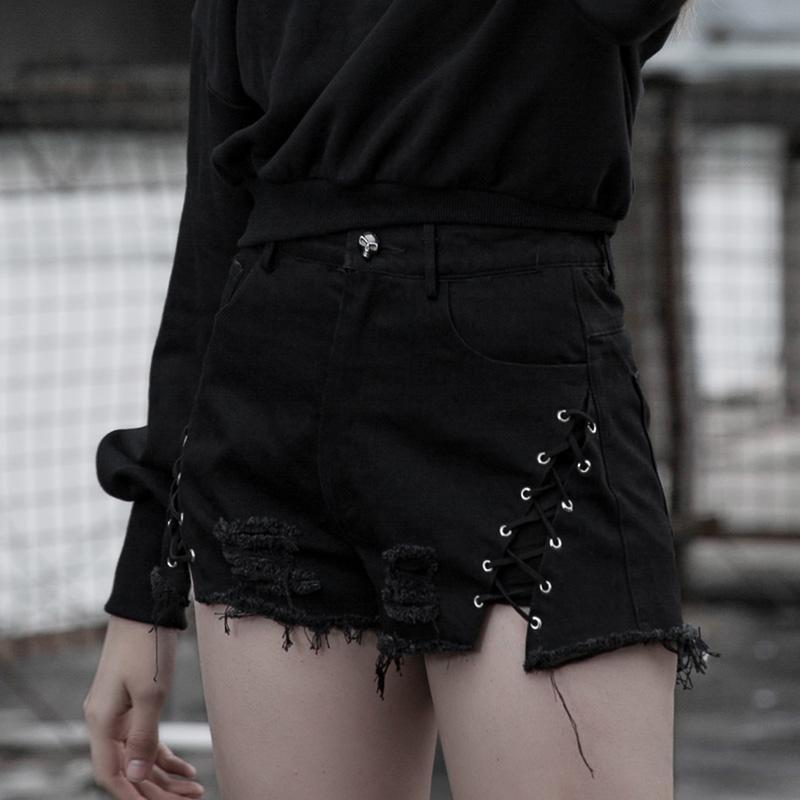 Punk Rave Women's Goth Ripped Lace-up Skull Denim Shorts PK281ND Asia Size S-L