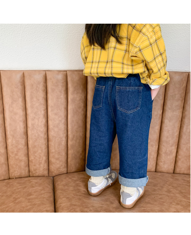 Autumn kids children casual all-match jeans 2020 boys girls soft solid color loose denim pants 1-7Y
