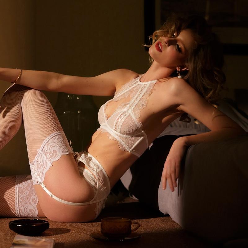 Image 4 - TERMEZY Fashion lace sexy Bra Set Push Up Seamless Lingerie Set Women Comfortable Bra and Panties Transparent Underwear SetBra & Brief Sets   -