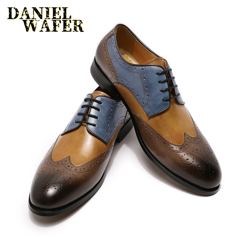 MENS DESIGNER LUXURY MAN FORMAL LEATHER SHOES WINGTIP POINTED TOE LACE UP SHOES MEN BUSINESS OFFICE WEDDING BROGUE OXFORD SHOES