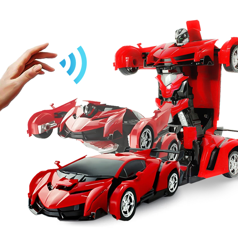 RC Car Transform Robot Car Toys Electronic Remote Control Vehicles With One Button Tranforming 2 In 1 Radio-Controlled Machine