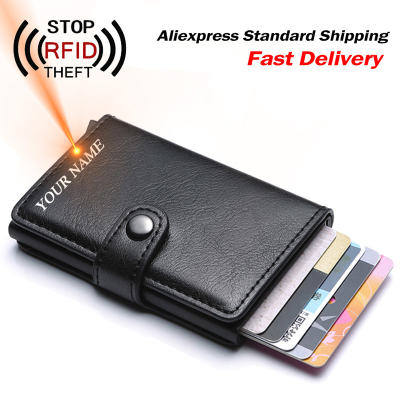 Men Credit Card Holder RFID Blocking Men Wallet Automatic Hasp Male Purse PU leather Bank Card Wallets Business ID Card Holder image