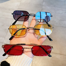 OEC CPO-gafas de sol rectangulares sin montura para mujer, anteojos de sol cuadradas de Color caramelo a la moda, de diseñador de marca, negras