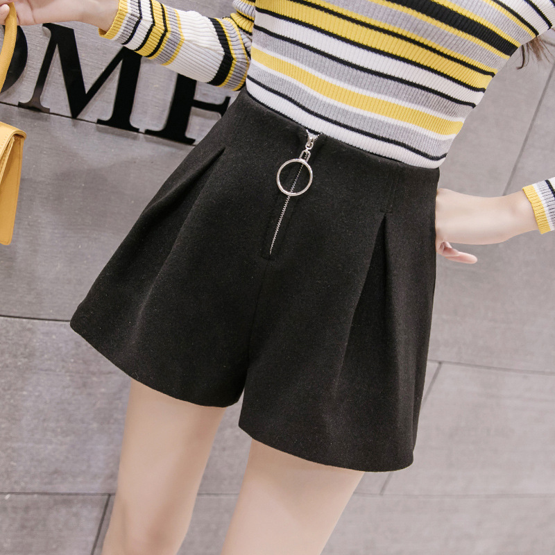 S-2xl Winter High-waist Wool Shorts Women 2019 Slim Loose High Waisted Shorts For Women Plus Size Autumn Booty Shorts For Ladies