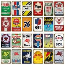 Mobil Racing Oil Plaque Vintage Metal Sign Retro Garage Decor Texaco Motor Oil Poster Bar Pub Gas Station Decorative Plate YM027