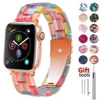Harz armband für apple watch 6 band 44mm iwatch 42mm serie 5 4 3 2 se strap HANDGELENK zubehör Schleife 40mm Armband Ersatz
