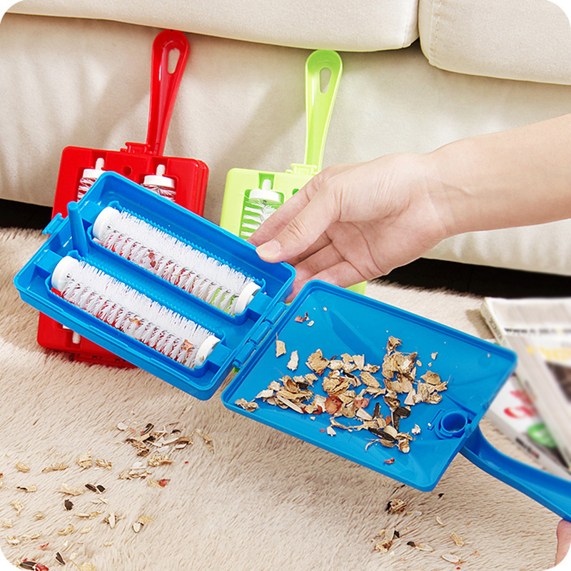 Double Brush Head Handheld Carpet Table Brush Plastic Sweeper Crumb Dirt Cleaner Roller Tool Home Cleaning Brushes Accessaries image