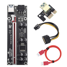 New VER009S Plus PCI E Riser Card 60cm PCI Express 1X to 16X USB 3.0 Cable SATA to 6Pin Connector for Graphics Video Card Mining