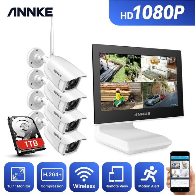 ANNKE 4CH FHD Wi Fi Wireless NVR CCTV System 1080P IP Camera WIFI Outdoor Waterproof CCTV Security Camera Surveillance Kit