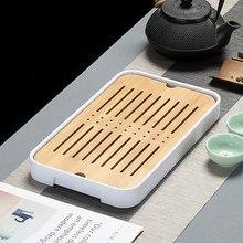 Service à thé en bambou, 1 pièce, accessoire de cérémonie avec Drainage de l'eau, Table, tasse de thé chinoise