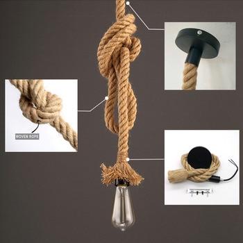 Retro Hemp Rope Pendant Light AC90-260V Vintage E27 LED Light Bulb Pendant Lamp Industrial Lamp Loft Home For Decor HangLamp 3