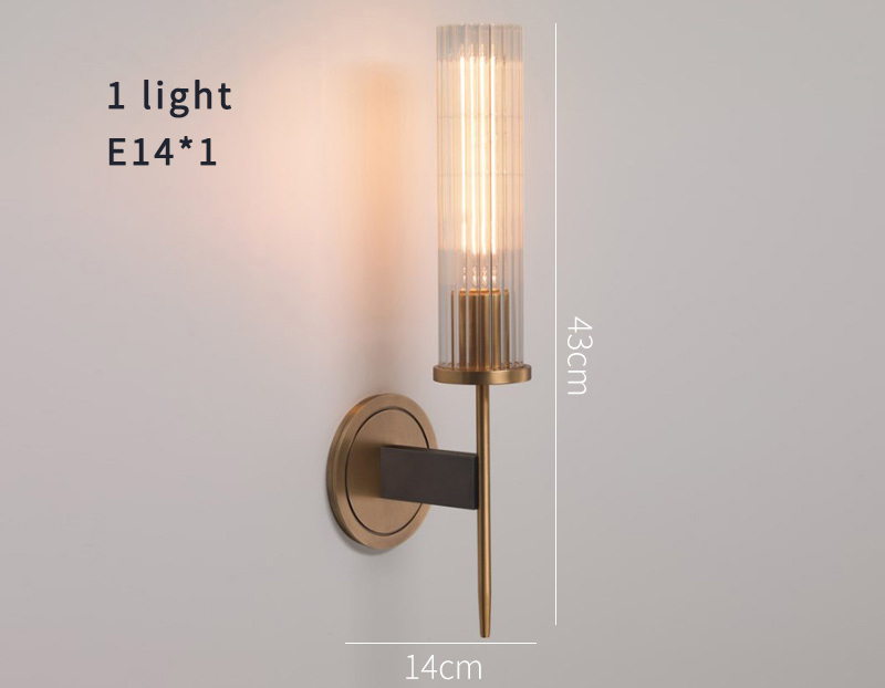 Hafa72b5ad3384bc8a70d71a870b5f25aX - Antique brass wall lamp glass cylinder shade home indoor decorative wall lights in bedroom bedside wall mounted sconce interior