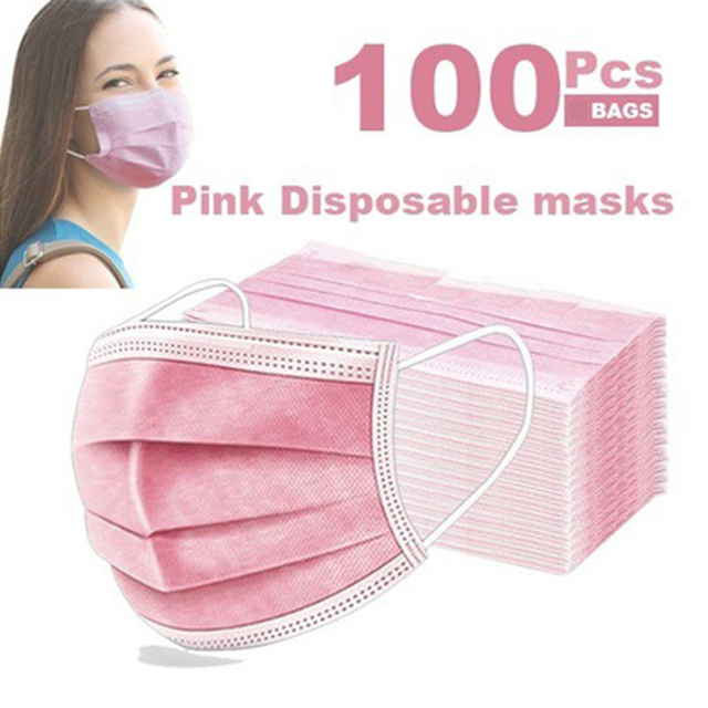 10/50/200pcs Disposable Face Mask Nonwoven Pink 3 Layers Civil Anti Dust Smog Breathable Gauze Mask Adult Pink Face Mouth Mask 1