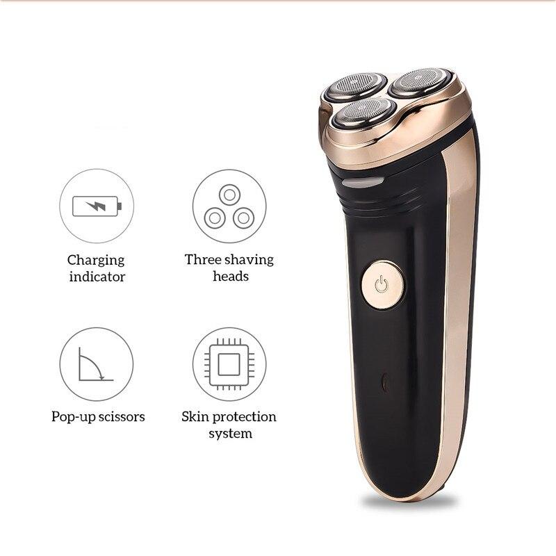 Электрический триммер для бороды для мужчин, беспроводная перезаряжаемая бритва, бритва с 3 плавающими лезвиями, триммер для волос, резак, п...