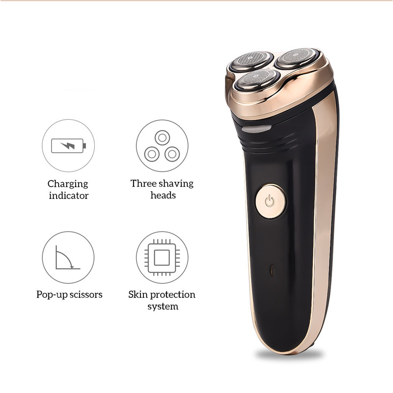 Electric Beard Trimmer For Men Cordless Rechargeable Razor Shaver 3 Floating Blades Hair Trimmer Cutter Portable Cutting Machine