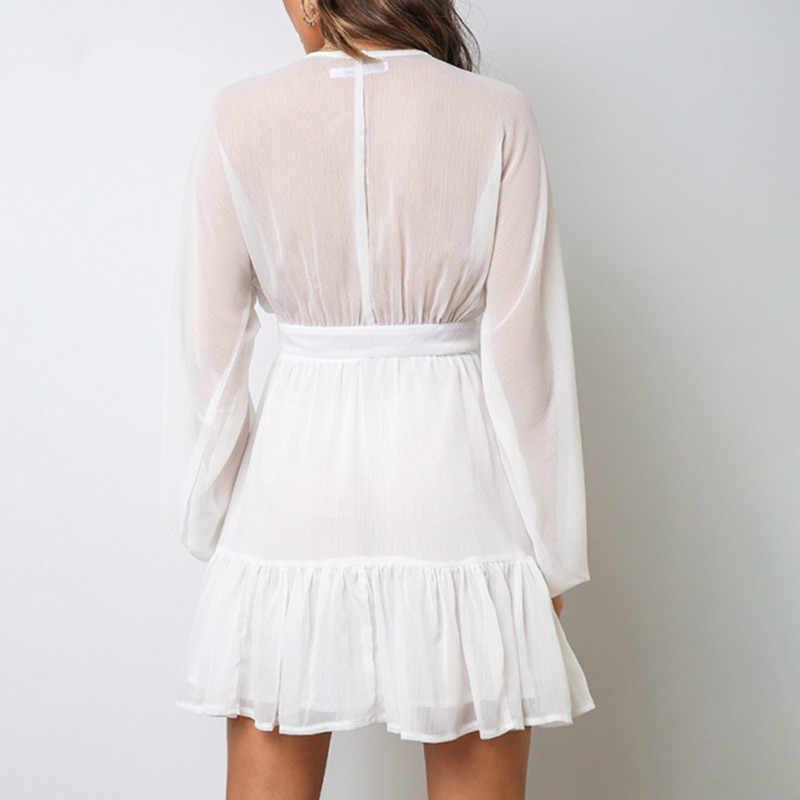 فستان صيفي مثير يغرق الخامس الرقبة المرأة الربيع الدانتيل الأبيض كم طويل فستان حفلة صغيرة كشكش ملابس أنيقة 2020