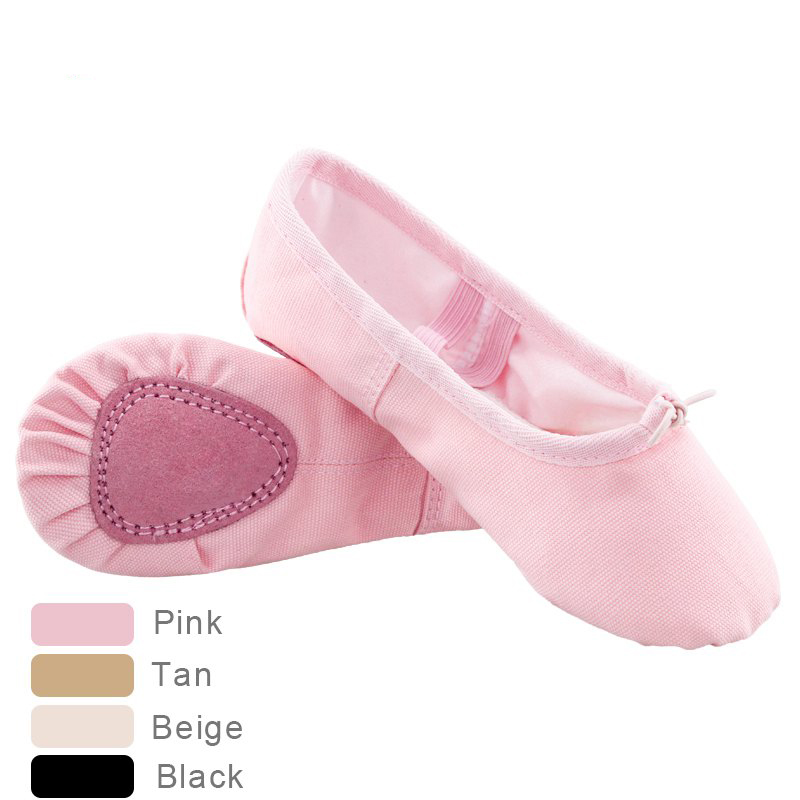 Children Kids Canvas Cotton Ballet Shoes Girls Dance Split Sole Gymnastics Yoga Dancing Shoes Pink Tan Black Beige 24-40