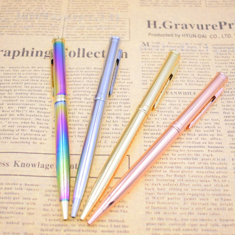 Metal Rod Rotating Metal Ballpoint Pen 1 mm Black Ink Smooth Writing Stationery Office School Supplies Gift Joy Corner in Ballpoint Pens from Office School Supplies