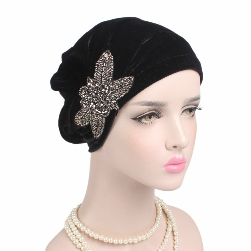 Women Muslim Hijab Hat Fashion Velvet Bead Flower Beanies Hat Women Turban Hats India Cap Scarf Inner Turban Cap Wholesale