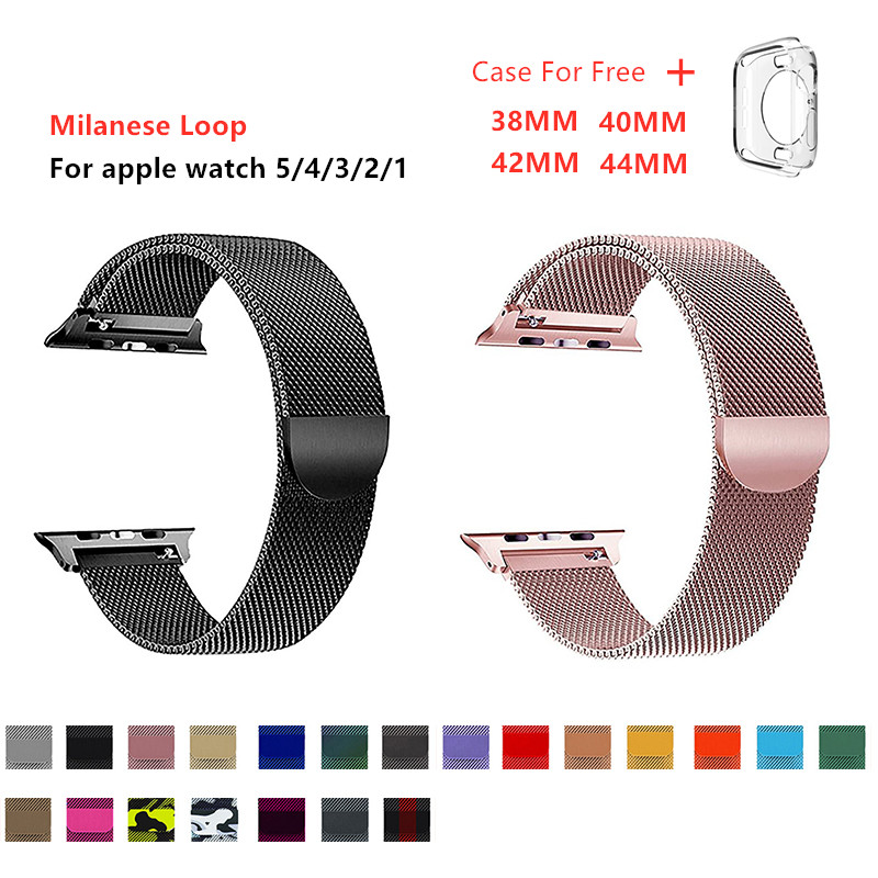 Milanese Loop Band For Apple Watch 5 4 3 2 38MM 40MM 42MM 44MM Stainless Steel With Case Strap For Iwatch Series Accessories