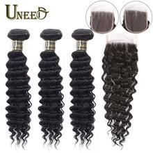 Paquets de cheveux Uneed avec fermeture vague profonde 1b couleur brésilienne 100% paquet de cheveux humains avec fermeture à lacets Remy Extensions de tissage de cheveux