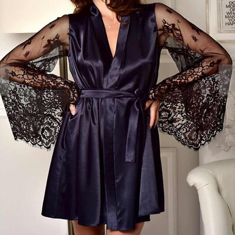 Jodimitty Mới Gợi Cảm Lụa Phối Ren Kimono Đen Thân Mật Đồ Ngủ Áo Choàng Váy Ngủ Rời Nữ Áo Choàng Tắm S-XL