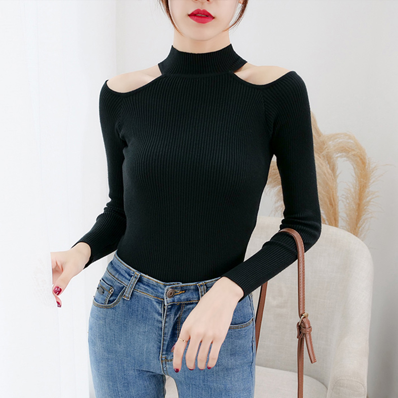 Sexy Off Shoulder Half Turtleneck Sweater Women Sweaters Knitted Pullovers Solid 2019 Autumn Winter Jumpers Slim Tops Red Black
