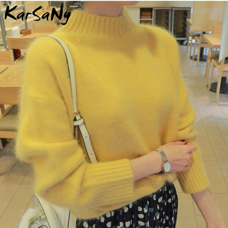 KarSaNy Turtleneck Women Fluffy Sweater Winter Warm Pullover Women Knitted Yellow Sweater Woman Pullover 2019 White Sweaters