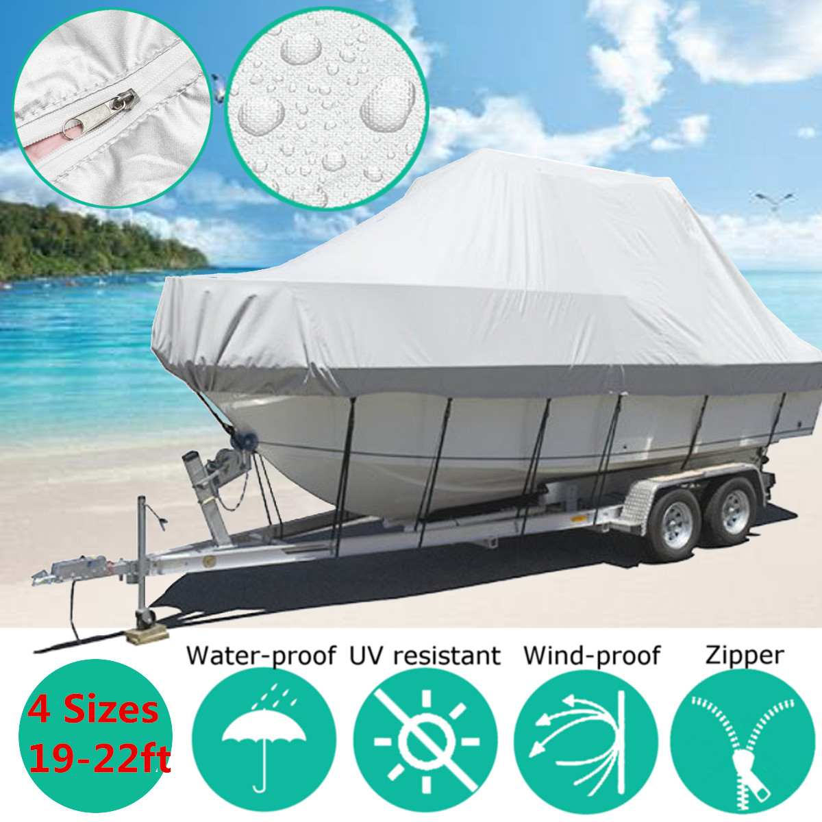 22-19ft 6.7-5.8m Boat Cover Marine Boat Yacht New Design Premium Heavy Duty 600D Trailerable Jumbo Boat Cover