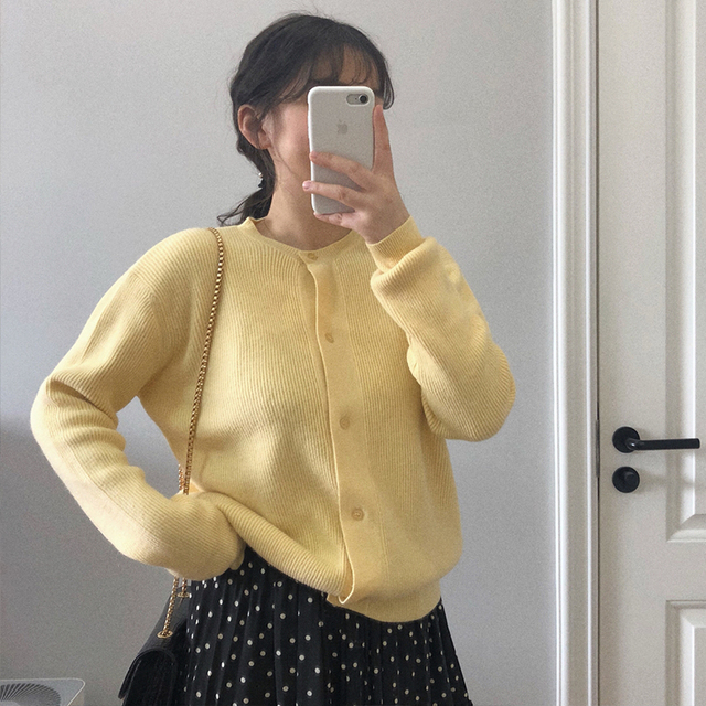 Ailegogo Women Sweater New Spring Casual O-neck Single Breasted Female Cardigans Knitted Loose Fit Ladies Tops Knitwear 2