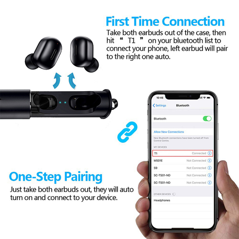 Mini Earbuds T1 TWS 5.0 Wireless Bluetooth Earphones 3D True Wireless Stereo Earbuds with Mic HiFi Cordless Dual Headset HS Ear Islamabad