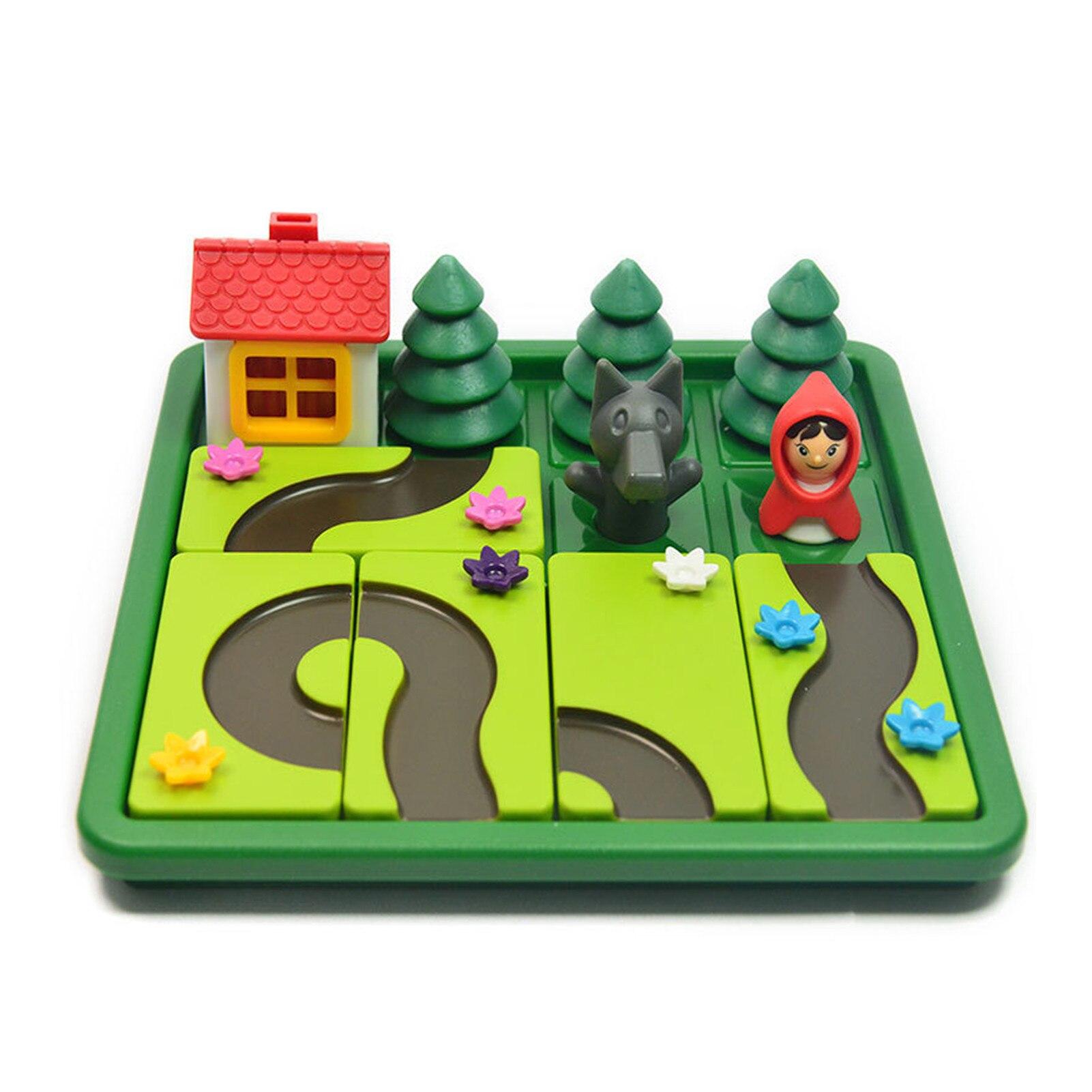 Crianças inteligente iq desafio jogos de tabuleiro pouco vermelho equitação capô quebra-cabeça brinquedos para crianças com solução inglês speelgoed brinquedo